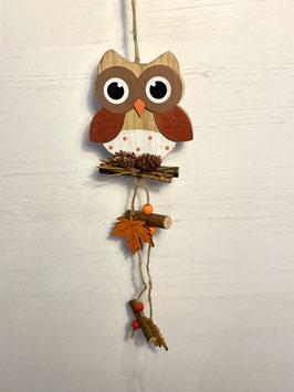 Formano Eule Holz Hänger in warmen Herbsttönen