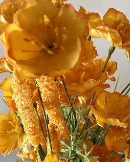 Kunstblumen Strauß in warmen gelb goldenen Herbsttönen täuschend echter Blumenstraußaß Herbstdeko