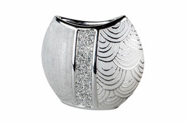 Formano Vase  oval silber mit Strass
