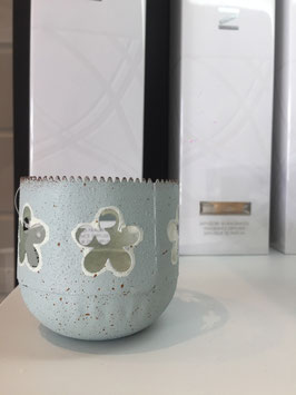 Kerzenhalter Metall Windlicht Shabby  blau & grün
