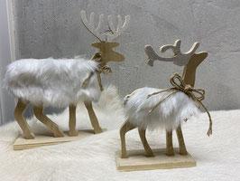 a little more Elch Winter Weihnachten Deko Holz Elch mit Plüsch Set. Elch