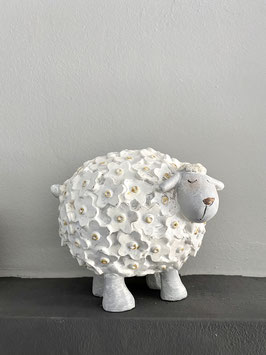 Deko Figur Schaf mit Blüten-Muster weiss Ostern Frühling