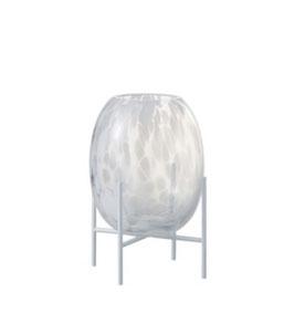 J-LINE Glasvase/ Windlicht  auf Fuß Punkt/Leo Transparent weiß