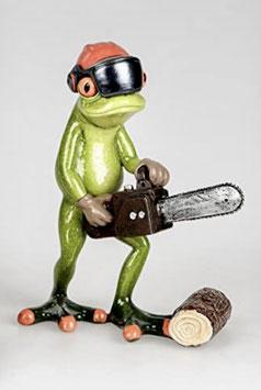 Formano Frosch mit Kettensäge & Schutzhelm lustiges Geschenk