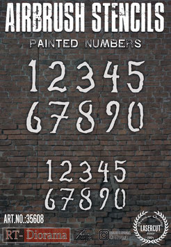 Airbrush Stencil: Painted Numbers