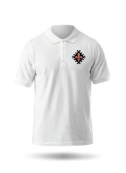 Hr. Polo-Shirt weiß / schwarz - MOTIV 1