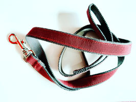 Dog leash grey/bordeaux