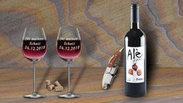 Weinglas - individuell von Hand geätzt