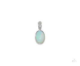 White Opal 9ct White gold pendant with a sparkling diamond bail.
