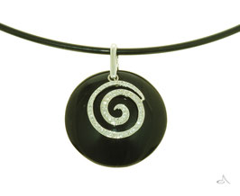 Large Domed Onyx Pendant with Diamond Set Swirl