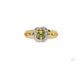 18ct Yellow and White gold partii sapphire and diamond ring