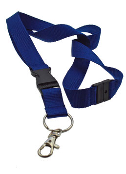 20/25MM LANYARD MIT PLASTIK-SNAP UND PLASTIC SECURITY CLIP. ROYAL [VE150]