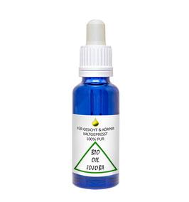 Jojobaöl BIO zertifiziert kaltgepresst Gesichtsöl, Körper & Haaröl, 30ml in blau Glasflasche mit Pipette
