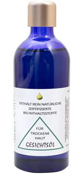 Gesichtsöl für trockene, reife,anspruchsvolle Haut,  100ml in violet Glasflasche
