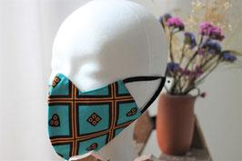 Mundbedeckung/Behelfsmaske türkiser Stoff aus Ghana