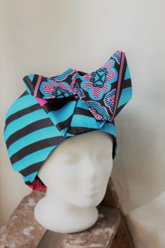 Haarband aus blau-rosa-schwarzem Stoff