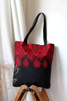 Umhängetasche 'Rhomben rot-schwarz'