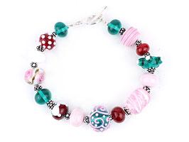 Unikat-Armband  rot, rosa und grüntürkis