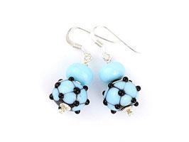 Ohrhänger Venezia himmelblau und schwarz, mit kleiner Glasperle