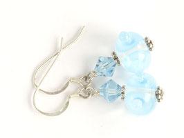 Ohrhänger Boreas in hellem Türkis, mit Glasschliff-Kristallen