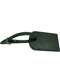 Green leather suitcase label
