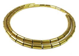 Hämatit goldene Röhrchen ca. 8x4 mm - Strang