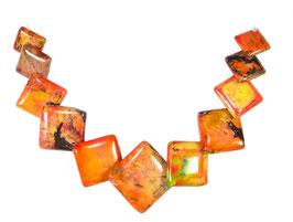 Oranger Türkis Quadrate in gestaffelter Größe Edelstein-Perlen-Set (11 Perlen)