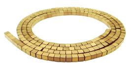 Hämatit Würfel matt gold ca. 2 mm - Strang