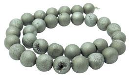 Drusenachat matt silber-graue Kugeln z.T. mit Kristallen 12 mm Achat - Strang