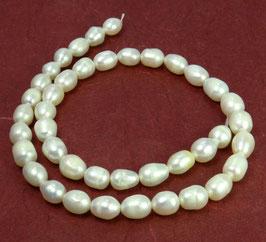 "Süßwasserperlen ""weiße Kartoffeln"" Perlen ca. 8-9 mm  (längs gebohrt) - Strang"