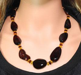 Bernstein Halskette polierte Natur-Nuggets aus cherryfarbenem Bernstein