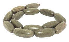 Indisches Silbergrauholz große Oliven ca. 30x12 mm Holzperlen Strang in zwei Farbvarianten