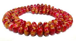 Jade Komposition Rondelle Rot mit goldenem Schimmer 8x5 mm - Strang