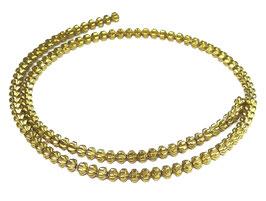 Hämatit gerillte goldene Rondelle 4 mm - Strang