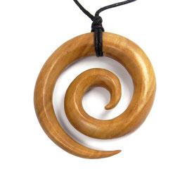 Spirale - Anhänger aus Holz im XL-Format (hellbraunes Holz)