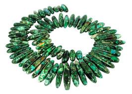 Impressionen Jaspis & Pyrit lange Stäbe blaugrün gestaffelte Größe - Strang
