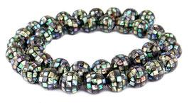 Abalone Mosaik-Kugeln 10 mm Perlen (Paua / Seeohren / See-Opal / Perlmutt) - Strang