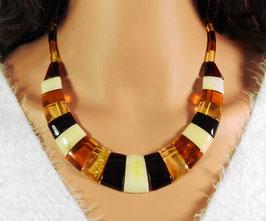 Bernstein Halskette Trapez-Scheiben multicolor