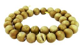 Achat Drusenachat matt gold Kugeln z.T. mit Drusen Kristallen 10 mm - Strang