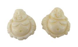 Knochen-Perlen Buddha ca. 22x20x8 mm Naturperlen Set (2 Stück) Mala Perlen