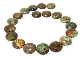 Grüner Opal gewölbte Münzen ca. 20 mm - Perlen Strang