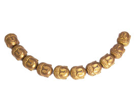 Hämatit Buddha-Kopf ca. 10x9x7 mm matt kupfer Buddha-Perlen - Set (10 Stück)