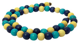 Farbige Holzperlen: dunkelblau-blau-cremegelb - Strang bunter FARBEN-MIX 4