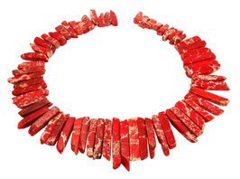 Impressionen Jaspis lange rote rechteckige Nuggets gestaffelte Größe - Strang