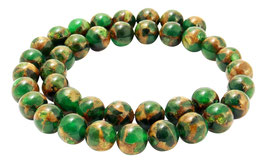 Jade Komposition Kugeln Grün mit goldenem Schimmer 10 mm - Strang