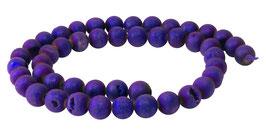 Drusenachat matt violette bis dunkelblaue Kugeln z.T. mit Kristallen 8 mm - Strang