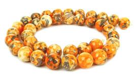 Cloisonné Perlen orangefarbene Kugeln 10 mm - Strang