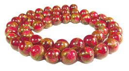 Jade Komposition Kugeln Rot mit goldenem Schimmer 8 mm - Strang