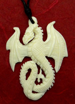 Drache Anhänger < Drachen-Ewigkeit > aus Wasserbüffelknochen