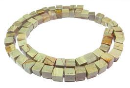 Silberblatt Jaspis unregelmäßige Würfel ca. 6 mm - Strang